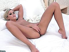 Blonde Dido Angel stripping and masturbating