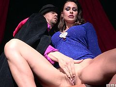Magician makes sexy milf Nora Noir squirt as she rides his big cock