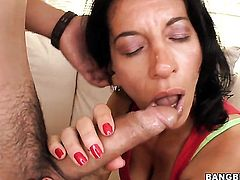 Melissa Monet offers her totally fuckable mouth to hard cocked guy
