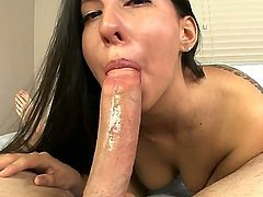 Attractive totally naked sexy girl Esperanza Diaz with long black hair is good at giving deep blow job.  Cutie with natural tits takes fat dick in her mouth from first person perspective.