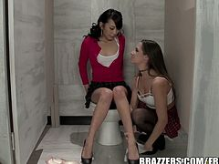 Beautiful schoolgirls are lesbian and they have found a secret toilet place to make love and they are both naked here licking, eating and toying their hungry twats.