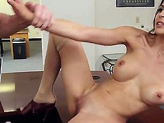 Beauty with perfect boobs Heather Vahn gets banged at work