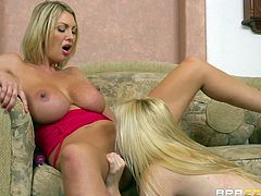 If couples of lesbians attract your curiosity, click to watch the horny blonde ladies, feeling good. The pleasure is raised to a higher level as the naughty teen, Samantha, is sucking the dildo, stuffed in the milf's lusty cunt. Enjoy the kinky scenes of pussy eating and the exciting rim job.