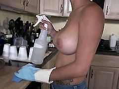 Very attractive sexy maid Jasmine Caro is topless in skin tight jeans and shows off her big tites in the kitchen. Jasmine Caros perfectly shaped huge boobs will make your cream you pants!
