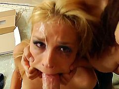 Naked obedient blonde Carmen Caliente gets her mouth stretched and gags on massive cock on her knees from your POV. She gets deep throat fucked the way Francesca Le loves it.