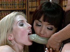 If you are into lesbians, click to watch three horny ladies, involved in exciting sexy activities. One of them is wearing a strap on and the game implies sucking it, and stuffing it in the blonde slut's ass. Crazy tits, lovely ass, naughty bitches... what could you ask more? Enjoy the details.