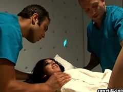 Taylor Rain is committed at the hospital. Two male nurses take advantage of her condition and make her swallow their cocks. They also penetrate her bald muffin.