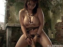 A horny Japanese is hardly waiting to show off her big butt and huge tits. She and her partner go in a remote place on a beach, in an old house in ruines, where they can explore their bodies without being interrupted. See the brunette bitch playing with the guy's cock. She loves when her cunt is fingered.