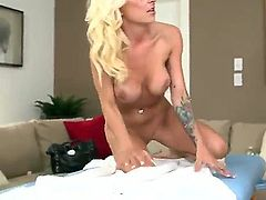 Skinny blond--haired mom Kali with charming smile, juicy boobs and small ass gets her tight pink hole fingered by MILF Hinter before shew takes his beefy cock from behind. Watch sexy MILF get shagged!