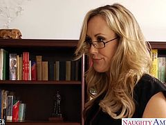 Blonde milf sex teacher with big knockers Brandi Love gives blowjob and gets fucked hard by her younger student