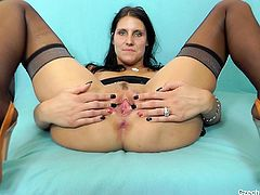 Ruby is a sexy cougar, who loves to spend time alone. She does not wait for men to make her happy. Why should she, when she can do it herself. Watch her show off her pussy and sassy body. She sucks the dildo really hard, before putting it inside her big hole. Can the dildo quench her thirst?