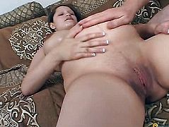 Pregnant bitch fucks with a guy