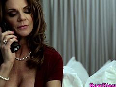 Mature busty pornstar Deauxma wearing sexy stockings squirts while fucked by younger dude