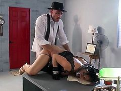 Chanel Preston in high heels, gloves and and g-string gets detective Johnny Sins hot! Nothing cant stop him from drilling him from drilling her wet pink pussy. She gets slammed on the edge of a desk.