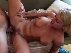 A hot blonde gets her tits then pussy fucked nice and hard