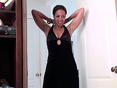 What could make a bored housewife's day? If she's a horny milf, she might want to get naughty in front of the camera... Josephine is wearing an elegant evening black dress, jewels and nothing else! Click to watch the hot brunette naked. She loves to lick her playful tits and finger her lusty cunt. Enjoy!