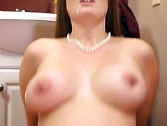 Big boobs babe Allison Moore screwed up in the bathroom
