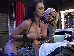 Hot huge titted blonde Nikki Benz gets her nice big ass drilled by hard dick in threesome action with curious brunette Alektra Blue. Watch passionate well stacked woman get her butt banged hard.