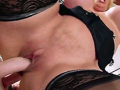 MILF blonde Alura Jenson with huge titties is his wifes dirty sex hungry mom. Passionate mature woman in back stockings is in heaven getting her pink hole drilled by stiff young cock in the comfort of the bedroom.