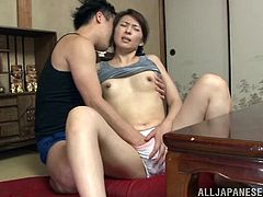 Sex after breakfast with her hugely hairy Japanese pussy
