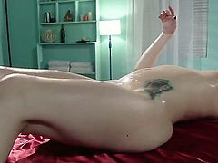 Alluring tattooed brunette Katie St. Ives with small natural breasts gets her nicely trimmed bush licked and fucked by horny as hell masseur. He cant miss his chance to stick his rod in her tight vagina.