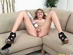 Blonde has fire in her eyes as she takes cumshot on her eager face