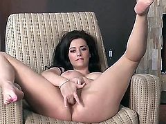 Taylor Vixen is a lovely brunette with big breasts and wet trimmed pussy that has a nice time rubbing her twat hard with legs apart by the fireplace. She cant keep her fingers off her vagina.