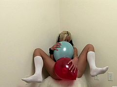 Trisha is so fucking hot when playing dirty! Click to get convinced. The slutty babe has got dyed blonde and black hair, but what's most attractive in her, are her big amazing boobs and crazy firm ass. Watch the tattooed bitch playing with some balloons. Enjoy the exciting show!