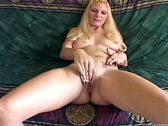 The sexy video frames two sensual ladies with black and blonde hair, who are both naked and very aroused. The blonde slutty princess from the white ghetto loves having fun with sex toys and uses a dildo to raise pleasure. Click to see those pussies fucked well and squirting...