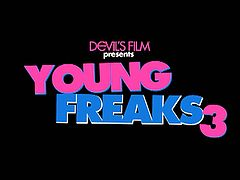 Devils Film presents to you the Young Freaks 3 trailer featuring four of the young beauties today Allie Haze, Dillion Harper, Jessa Rhodes, Riley Reid as they take on a huge cock humping on their little mouths and tight wet pussies.