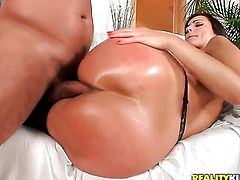 Brunette Neeo with phat booty and bald bush enjoys the earth moving butt fuck