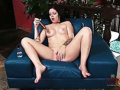Brunette oriental Madelyn Monroe shows her naughty parts before she plays with herself