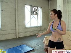 Tattooed chesty brunette athlete babe Jayden Jaymes suck and fuck a large dick in the gym