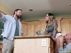 A naive husband invited some friends at his home. He has no clue that his seductive wife could cheat on him in such a slutty manner, right in their house and under his nose! Click to see horny Payton sucking cock on the kitchen floor. The tattooed hot babe shows off her fantastic big tits and gets banged hard.