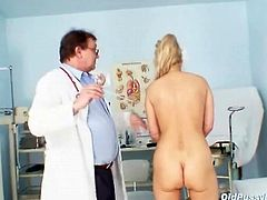 Sexy blonde mature in for a medical exam