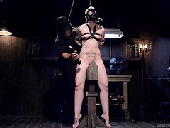 Elizabeth is the prisoner of a hard bondage. At first, the tattooed short-haired slut with small tits is wearing a gas mask. Kinky, isn't it? The helpless lady experiences some painful, yet exciting sensations when her nipples, skin around the neck or in the belly area are filled with clothespins. Watch!