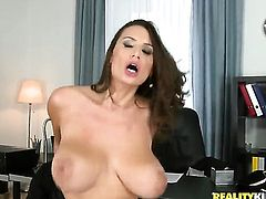 Brunette Sensual Jane gets down on her knees to give deep blowjob to James Brossman