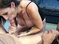 Elegant milf with big tits getting facial cumshot after giving big cock blowjob in group sex