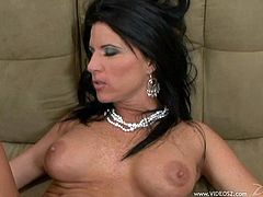 Kendra Secrets loves to take a huge cock in her mouth for a suck in a hardcore blowjob and her shaved pussy gets banged doggystyle hardcore.