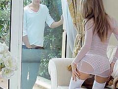 A man involving A Bald Sac Comes Over And Chills around A Sweet Blonde in Stockings