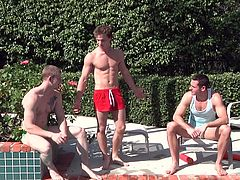 This sexy jizz orgy takes place out in the backyard near the swimming area. The hunks are all lounging around, soaking up some sun. So, naturally they all get very horny and they want to plays with each other's cocks, and give blowjobs. One guy is trying to balance sucking two cocks at once.