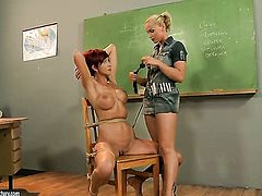 Blonde Patricia Gold gets satisfaction with lesbian Kathia Nobili