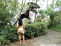 Joon Mali is cute little thing that you would love to play with all day long. This girl is teasing whenever she gets horny and she never bothers with the place. Here she is in a park, showing off her tight assets to arouse our dinosaurs, so that she has her chance to get rammed properly!