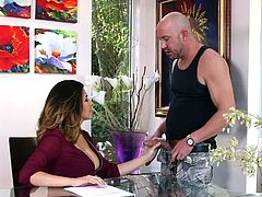 Although she tries to remain neutral, the slutty milf in the video is after only one thing: a hard cock... The discussion is closed, when the guy unzips his pants and shows the horny woman his lusty cock. Danica looks pleased to have the last word and begins sucking the bald man's dick and balls. See details!