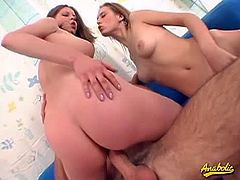Hot and horny russian teens Kelly and Laki are enjoying the threesome adventure together with their fuck buddy. Look at Kelly goes up and down like a cowgirl while Laki waiting for them to rest to suck the guy's dick.