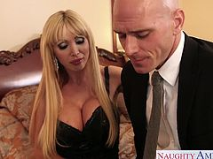 Hot milf girlfriend with big fake tits Nikki Benz sucking and fucking a large schlong