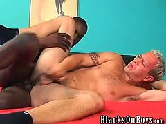 Giant black cock fills delicious white ass. He's a simple little farm town guy from the MidWest who came out to California with