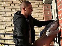 Well hung guy looks for girls in the street and offers them money in exchange for money. In this video she finds a hot blonde slut who accepts the money, she gets on her knees, swallows that cock and gets her pussy fucked doggy style.