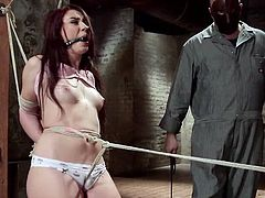 crazy redhead is tied up strongly