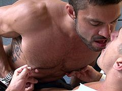 These two gentlemen, Rogan and Jay, are having a not so busy day in the office. So they decided to enjoy this moment. They started making out with each other, kissing and undressing. Both of them got completely naked at a point and they both sucked each others hard cocks pretty well and deep.